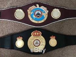 1 WBA & 1 WBO Boxing Replica Championship Belts Metal Gold Polish Plates 2 belts