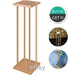 10pcs Wedding Flower Stand Flower Rack Vase Geometric Gold With Plate Centerpiece