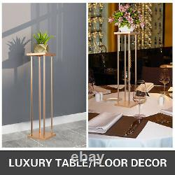 10pcs Wedding Flower Stand Metal Vase Stand WithPlate Gold Centerpieces Decoration