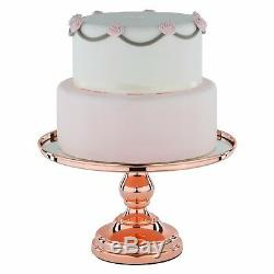 12 Rose Gold Plated Mirror Cake Stand, Round Chrome Metal Wedding Display Tower