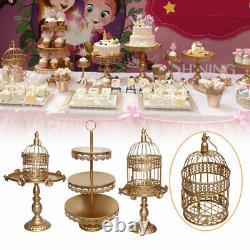 12Pcs Set Crystal Golden Metal Cake Holder Cupcake Stand Plates Wedding Birthday