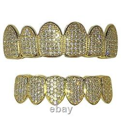 14K Gold Plated 925 Sterling Silver Grillz CZ Micro Pave Pre-Made Grills Set