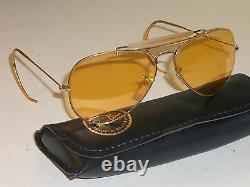1960's 58MM B&L RAY BAN GP ALL-WEATHER AMBERMATIC SHOOTING AVIATORs SUNGLASSES