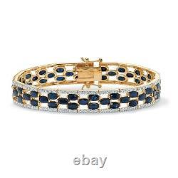 20.66 TCW Genuine Sapphire 14k Gold-Plated Tennis Bracelet