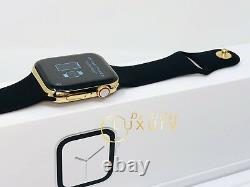 24K Gold Plated 44MM Apple Watch SERIES 4 With Black Sports Band
