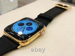 24K Gold Plated 44MM Apple Watch SERIES 6 Stainless Steel Black Leather GPS LTE