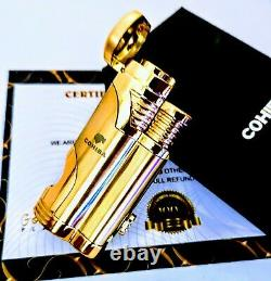 24ct Gold Plated Cohiba Metal Refillable Cigar Lighter 2 Jet Flame Windproof 24k