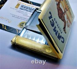 24ct Gold Plated Metal Camel Joe Cigarette Case Tin Gift Box With Lighter 24k