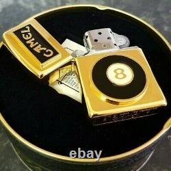 24k Gold Plated Joe Camel 8 Ball Zippo Lighter Metal Flint Wick Turkish Box 1993