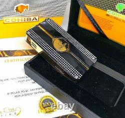 24k Gold Plated Metal Cohiba Lighter 3 Flame Turbo Jet Cigar Punch Black Boxed