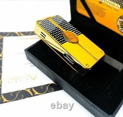 24k Gold Plated Metal Cohiba Lighter 3 Flame Turbo Jet Cigar Punch Gas Gift Box