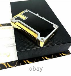 24k Gold Plated Metal Cohiba Lighter Flame Turbo Jet Cigar Punch Black Boxed GT