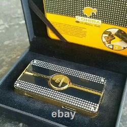 24k Gold Plated Metal Cohiba Lighter Triple Flame 3 Turbo Jet Cigar Punch Gas