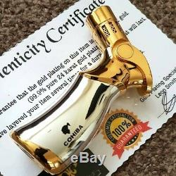 24k Gold Plated Metal Cohiba Table Lighter 4 Flame Turbo Jet Cigar Gas Gift Box