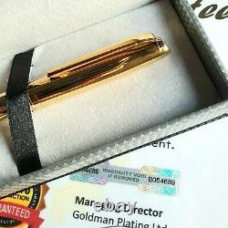 24k Gold Plated Metal Louis Paget Ball Point Pen Shiny Twist Black Ink Gift Box