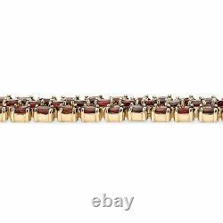 25 TCW Genuine Garnet Tennis Bracelet 14k Gold-Plated 7.25