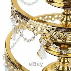 3-Piece Shiny Gold Plated Cake Stand Set Glass Top Wedding Party Cupcake Display