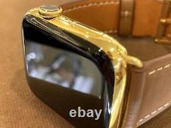 44mm Apple Watch Series 5 Stainless Steel Case Custom 24K Gold Plated Brown Band