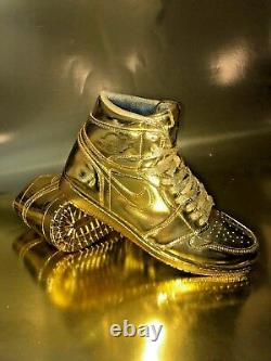 Air Jordan 1 Retro Custom 24k Plated GOLD Extremely Rare One of a Kind