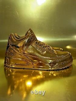 Air Jordan 3 Retro Custom 24k Plated GOLD Extremely Rare One of a Kind