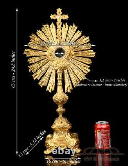 Antique Bejeweled Gold-Plated Metal Monstrance. Early 20th Century