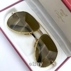 Auth Cartier 59 14 Unisex 18K Gold Plated Santos Vendome Vintage Pilot Sunglass