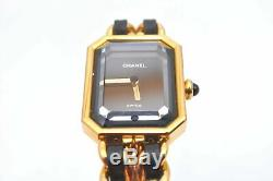 Authentic CHANEL Premiere Watch Gold Plated Leather Black CC 95031