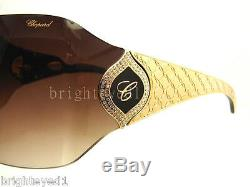 Authentic CHOPARD 23KT Rose Gold Plated Shield Sunglasses SCH 883S 300 NEW