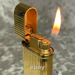 Authentic Cartier Gas Lighter 18K Gold Plated Finish Godron with Case & Papers
