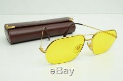 Authentic Cartier Vintage Sunglasses Orsay 58 15 135 Gold Plated Yellow Platine