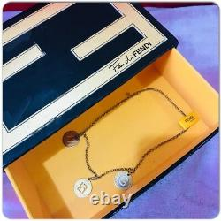 Authentic Fendi Metal FFCharm Limited Vintage Gold Plated Necklace Three Pendant