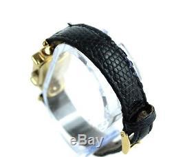 Authentic GUCCI Vintage 1800L Black Leather Gold Metal Quartz Dress Wrist Watch