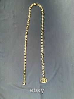 Authentic Gucci Gold Plated Chain Logo Belt