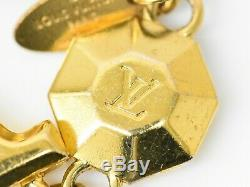 Authentic Louis Vuitton Key Ring Charm Holder Porte Cles LV Facet Gold Plated