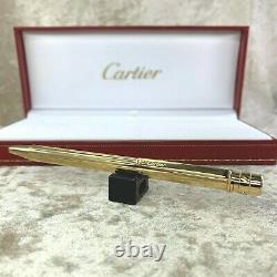 Authentic Santos de Cartier Ballpoint Pen Godron 18k Gold Plated Finish with Case
