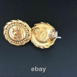 Authentic Signed Chanel Gold CC Round Clip On Signature Checkered Earrings RARE
