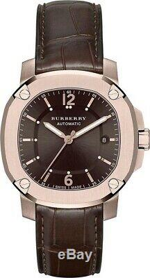 BURBERRY Britain BBY1211 Automatic Watch 18k Rose Gold Plated, Alligator leather