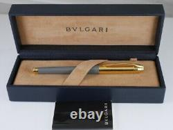 BVLGARI Gray Lacquer and Gold Plated Rollerball Pen (used) FREE SHIPPING