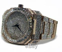 Baguette Dial Faux Diamond Rose Gold Plated Metal Strap HipHop Bling Watch