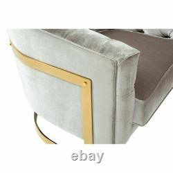 Beam Grey Velvet Chesterfield Tub Armchair with Gold Plated Metal Frame Legs