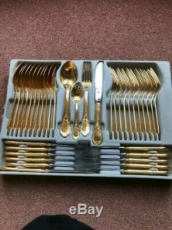 Bestecke solingen 70 piece gold plated cutlery set in metal case