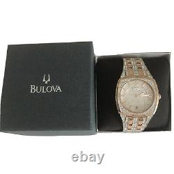 Bulova Phantom Men Rose Gold Plated Stainless Crystal Quartz Watch 98B324