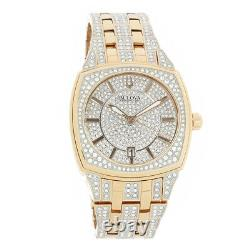 Bulova Phantom Mens Rose Gold Plated Stainless Crystal Quartz Watch 98B324