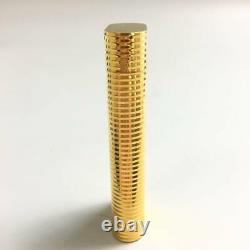 CARTIER Gas Lighter Vintage Gold Plated Stripes without Case Ignition Confirmed