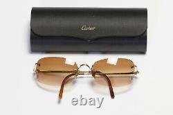 CARTIER Paris Gold Plated Brown Lenses Mens Sunglasses