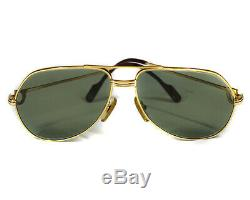 CARTIER SUNGLASSES Trinity Aviator Gold Plated Frame Green Lens 59-14 Temple 140
