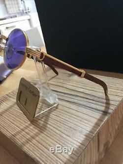 CARTIER Vintage Palisander Giverny Bubinga wood Gold plated Sunglasses