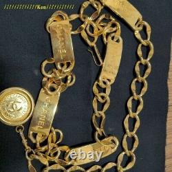 CHANEL Belt Chain AUTH Coco Mark Vintage Rare Logo Gold Plate Kawaii Cute F/S