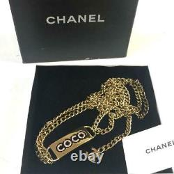 CHANEL Belt Gold Chain COCO Plate Pink Rhinestone authentic