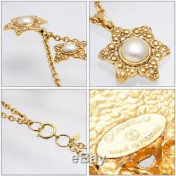CHANEL Faux Pearl Double Long Necklace Pendant Flower Vintage Gold plated Metal